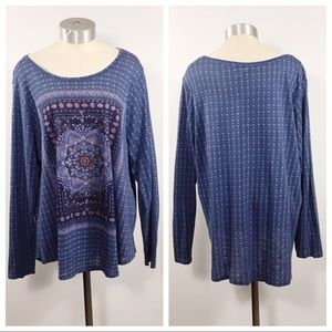 {LUCKY BRAND} BOHO PRINTED LONG SLEEVE